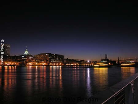 Location:  Savannah, Ga - Savannah River at night - Stock Photo by Dale Reagan
